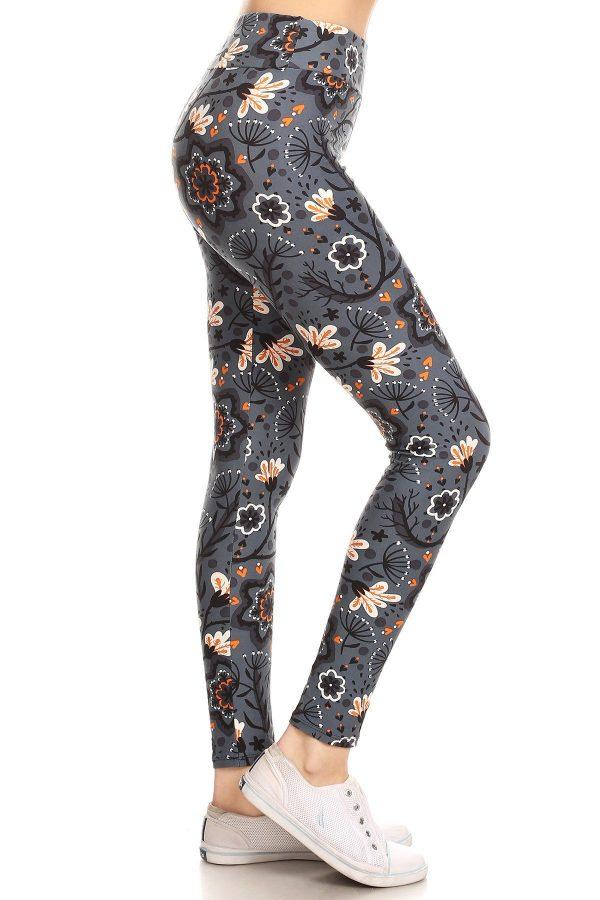 Yoga Band Floral Printed Leggings 1