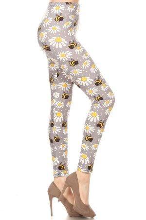Yoga Band Floral and Bee Print Leggings 3