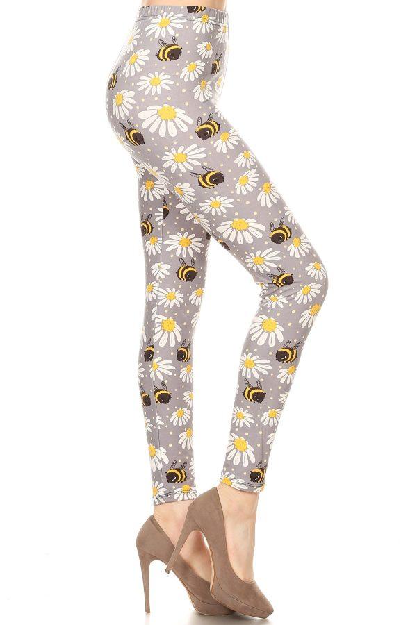 Yoga Band Floral and Bee Print Leggings 1