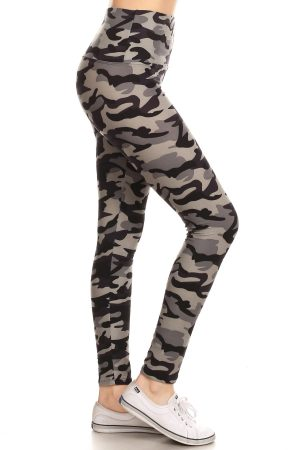 Yoga Band Grey Camouflage Print Leggings 6