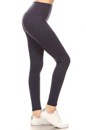 Yoga Band Navy Solid Ankle Leggings 7