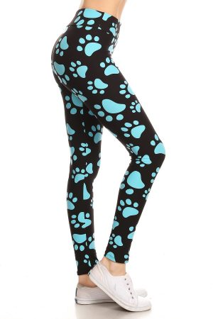 Yoga Band Paw Print Print Leggings 3