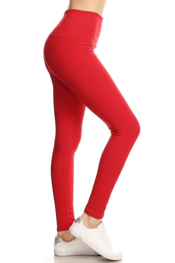 Yoga Band Red Solid Ankle Leggings 1