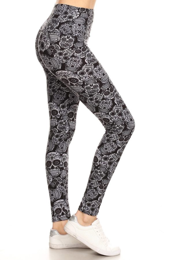 Yoga Band Skulls Printed Leggings 1