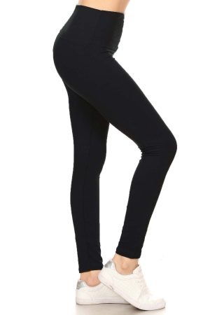 Yoga Band Solid Black Ankle Leggings 4