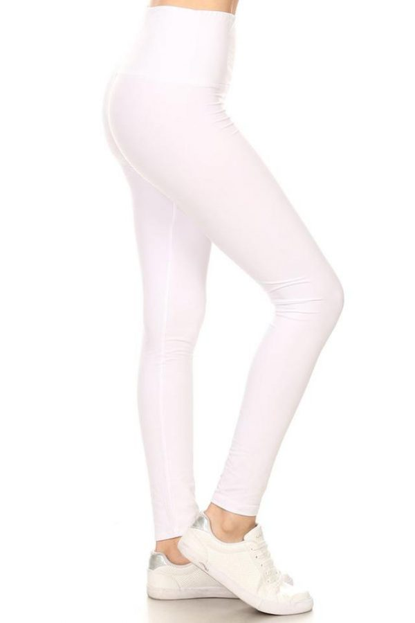 Yoga Band White Solid Ankle Leggings 1