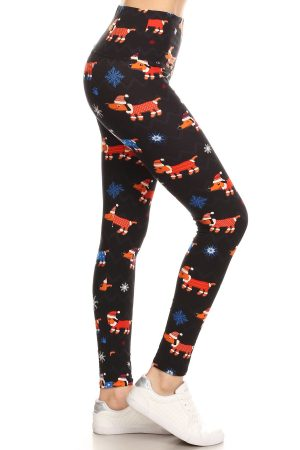 Yoga Band Winter Dogs Printed Leggings 5