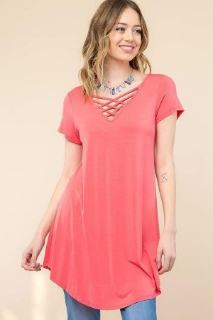 Coral Solid MODAL V-NECK CRISSCROSS TUNIC TOP 3