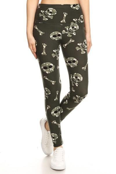 Yoga Band Camo Printed Skulls and Crossbones Print Leggings 2