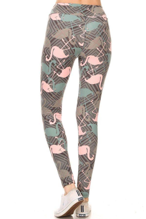 Yoga Band Flamingos Print Leggings 3