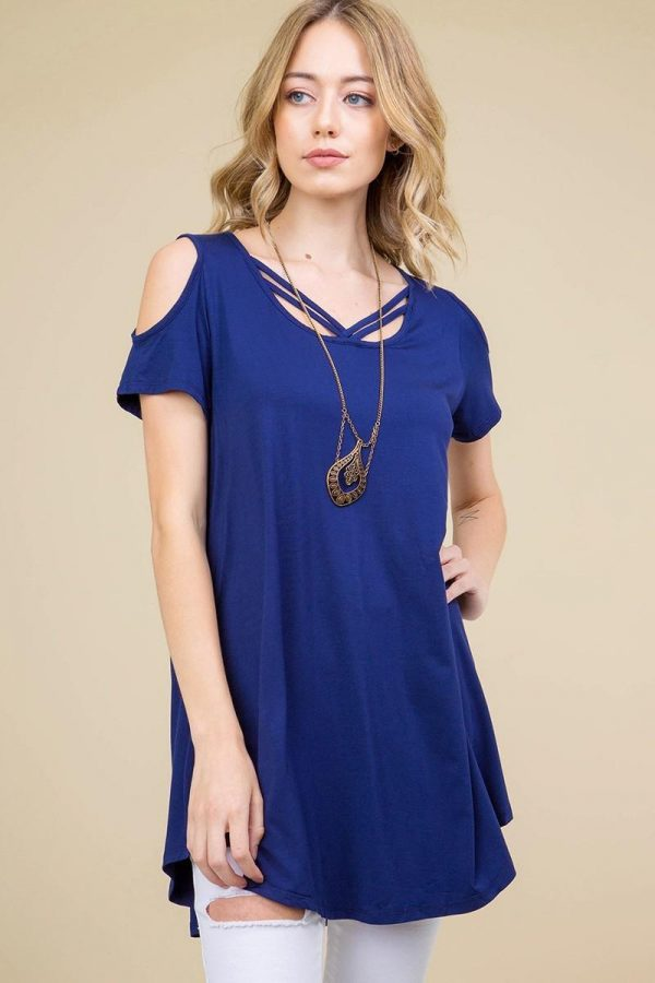 Navy Solid Cold Shoulder Lattice Neckline Round Hem Tunic Top 1
