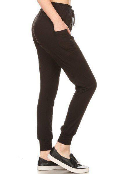 Solid Black Joggers Sweatpants 2