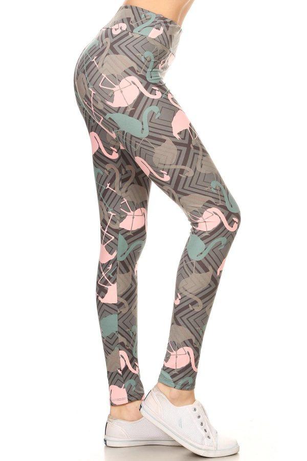Yoga Band Flamingos Print Leggings 1