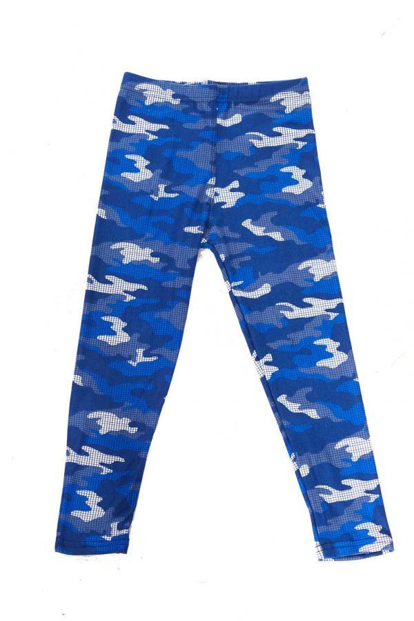 Blue Grid Camouflage Print Kids Leggings 1