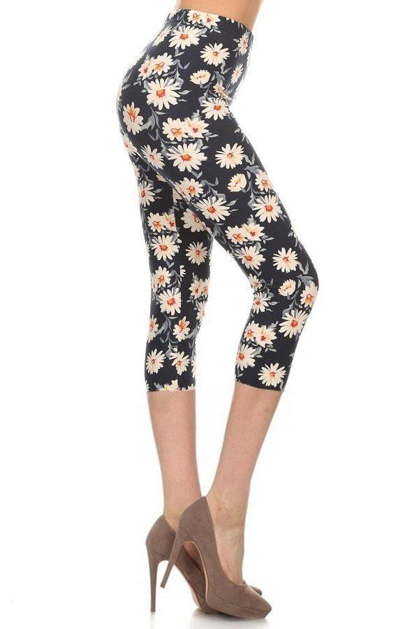 Daisy Floral Print Capri Leggings 1