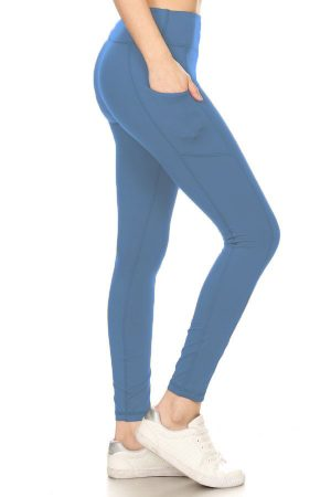 Premium Yoga Activewear Denim Blue Leggings - Side Pockets 3