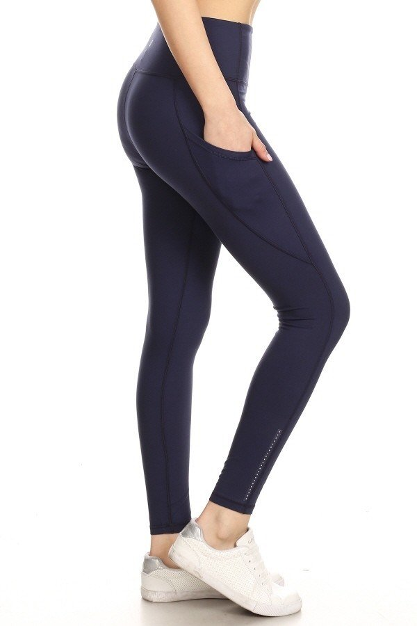 Premium Yoga Activewear Navy Leggings - Side Pockets 1
