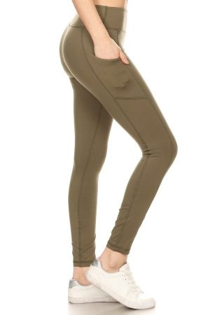 Premium Yoga Activewear Olive Leggings - Side Pockets 4