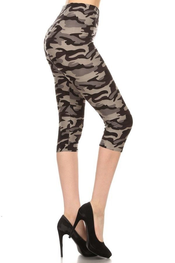 Grey Camouflage Print Capri Leggings 1