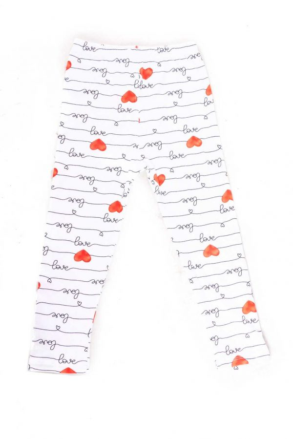 Heart Love Letter Print Kids Leggings