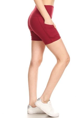 Premium Athletic Solid Burgundy Print Yoga Active Shorts 2