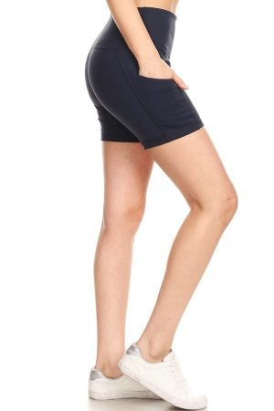 Premium Athletic Solid Navy Print Yoga Active Shorts