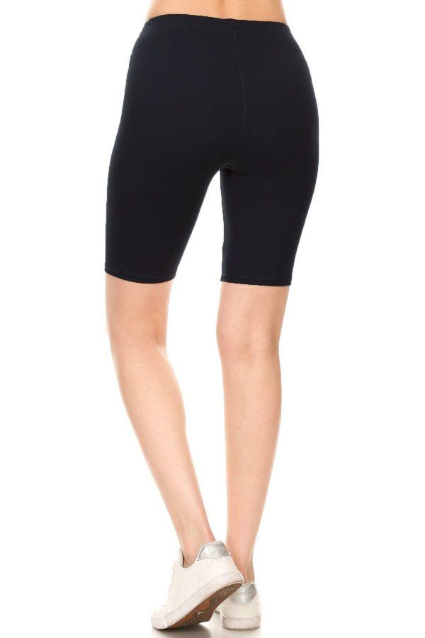 Solid Black Print Biker Shorts 3