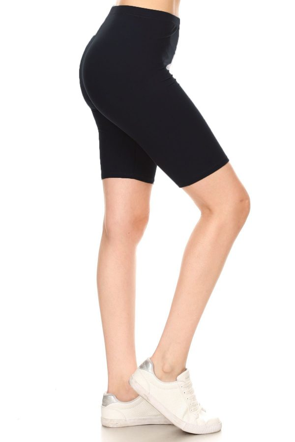 Solid Black Print Biker Shorts 1