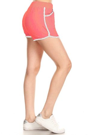 Solid Coral Color Print Shorts with Pockets 4
