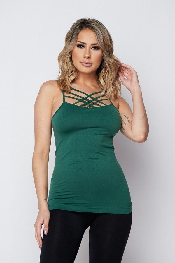 Solid Hunter Green Sexy Cami Tank Top 1