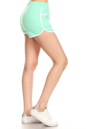 Solid Mint Color Print Shorts with Pockets 4