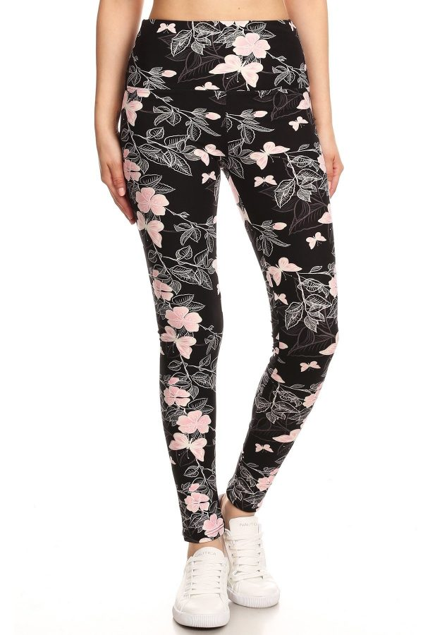 Yoga Band Floral and Butterfly Print Leggings 2