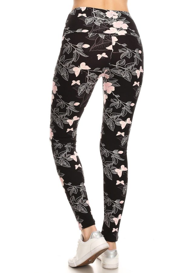 Yoga Band Floral and Butterfly Print Leggings 3