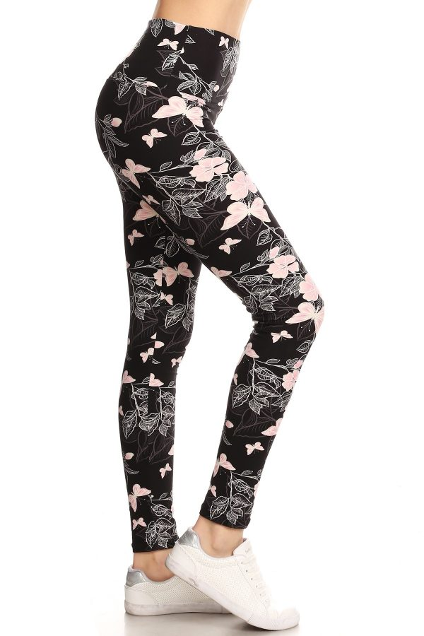 Yoga Band Floral and Butterfly Print Leggings 1