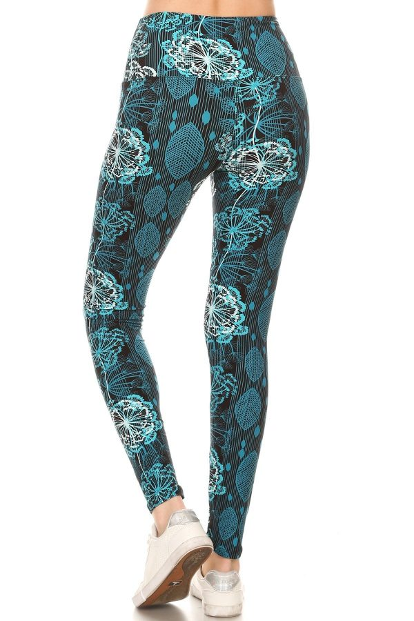Yoga Band Floral and Leaf Print Leggings 3