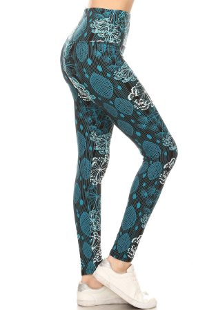 Yoga Band Floral and Leaf Print Leggings 2