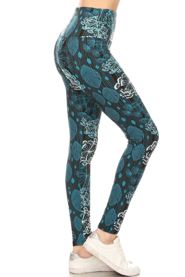 Yoga Band Floral and Leaf Print Leggings 1