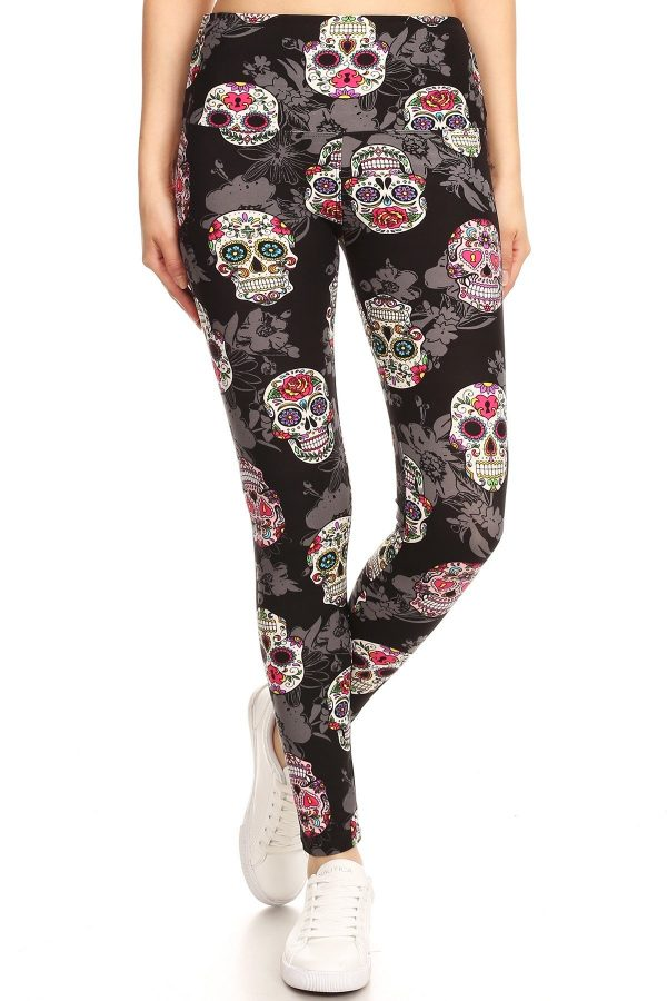 Yoga Band Multicolor Skull Print Leggings 2