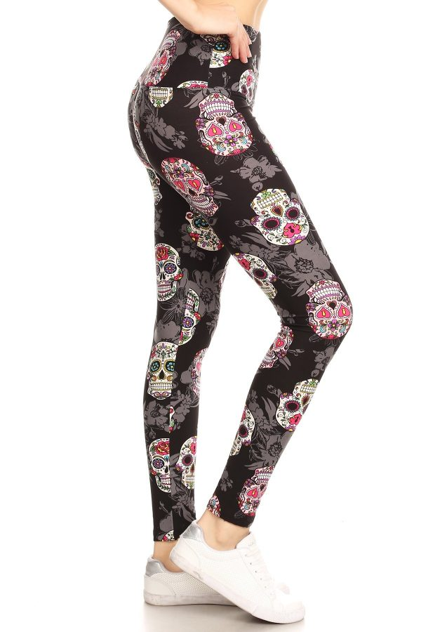 Yoga Band Multicolor Skull Print Leggings 1