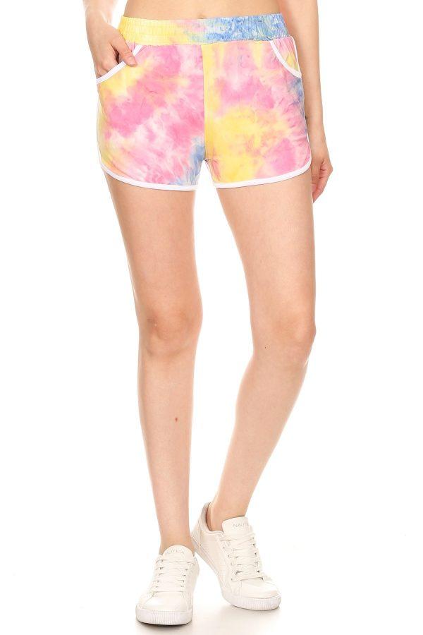 Multi Color Tie Dye Print Shorts 1
