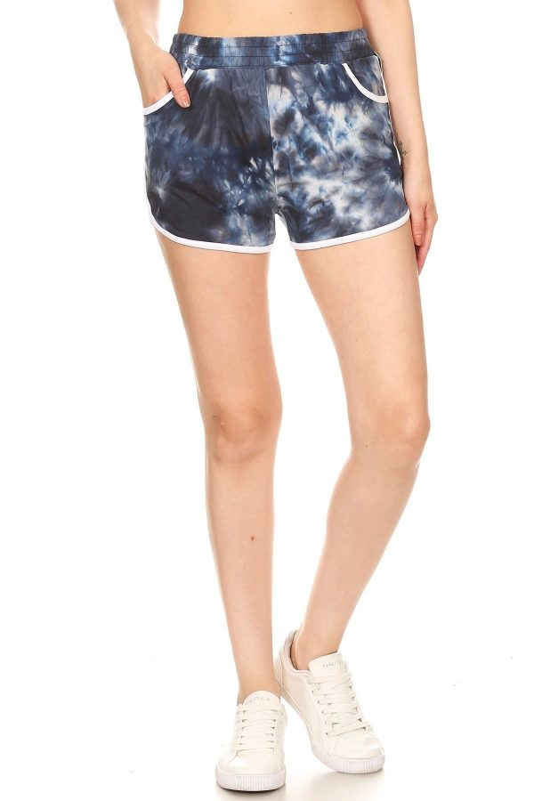 Blue Tie Dye Print Shorts with Pockets 2