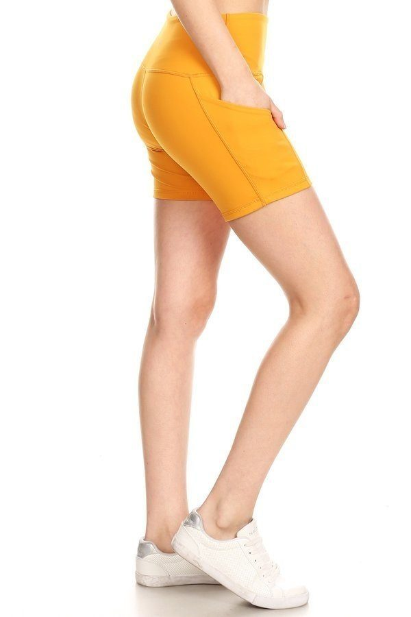 Premium Athletic Solid Mustard Print Yoga Active Shorts 1