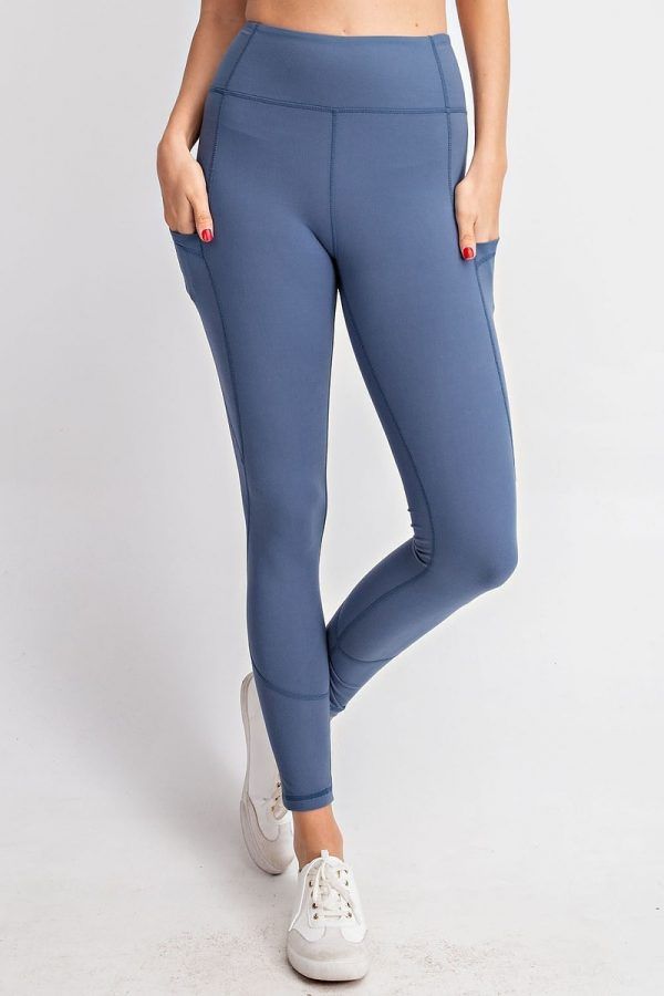 Premium Yoga Activewear Solid Code Blue Leggings - Side Pockets 1
