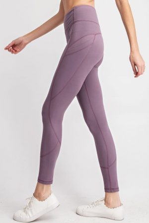 Premium Yoga Activewear Solid Frosted Mulberry Leggings - Side Pockets 3