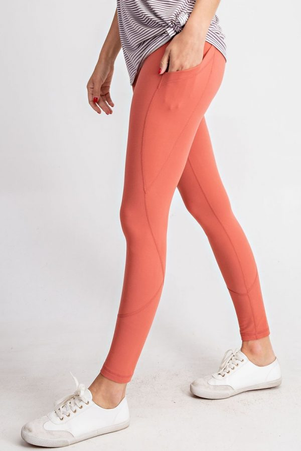 Premium Yoga Activewear Solid Rustic Coral Leggings - Side Pockets 1