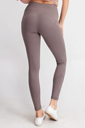 Premium Yoga Activewear Solid Smokey Grey Leggings - Side Pockets 2