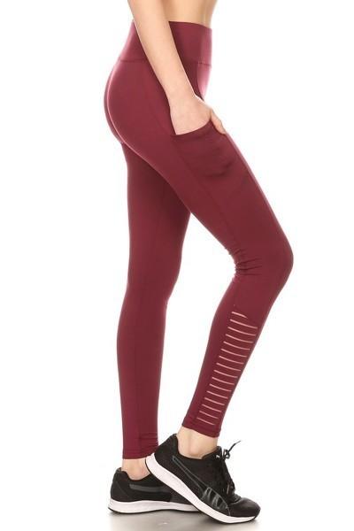 Premium Yoga Activewear Solid Wine Color Leggings - Side Pockets - Striped Mesh Ankle 1