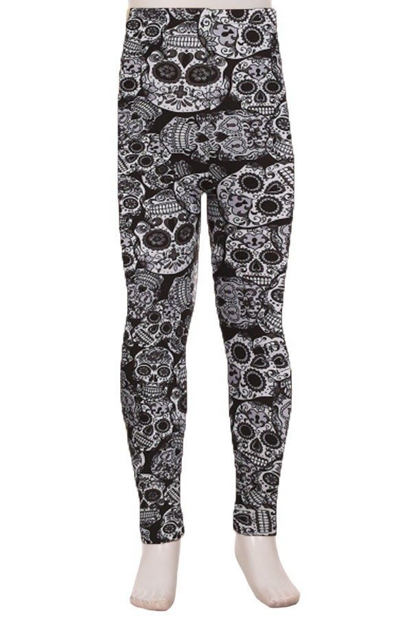 Skull Print Kids Leggings 1