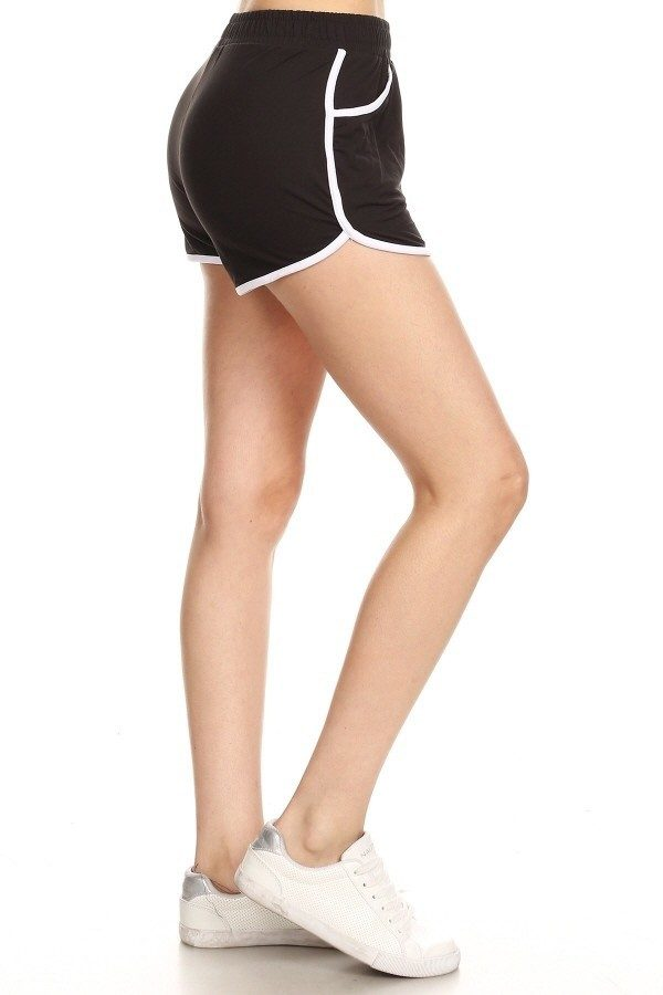Solid Black Print Shorts with Pockets 1