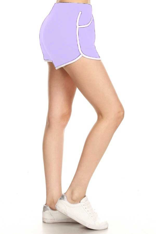 Solid Lavender Print Shorts with Pockets 1